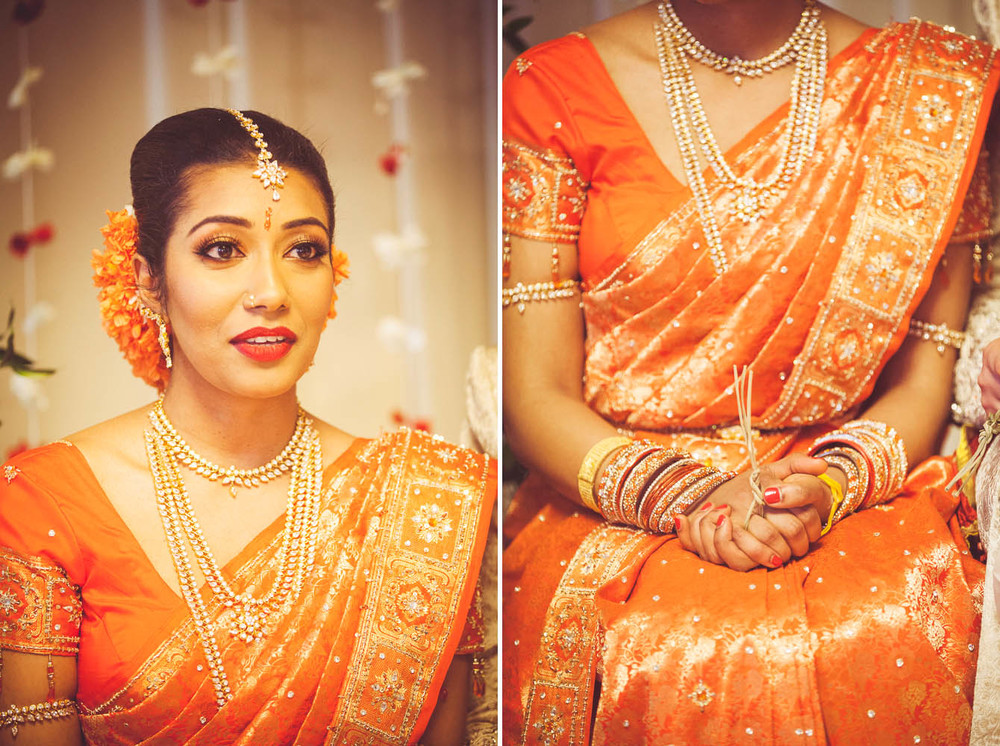 Thubeena's orange sari