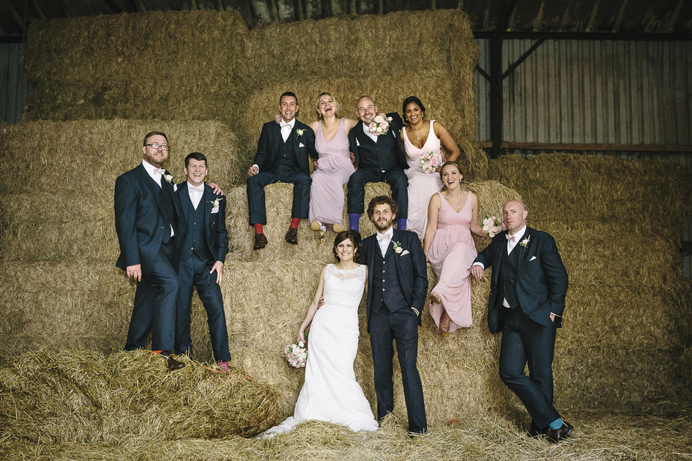 The wedding party at Herons farm Barn
