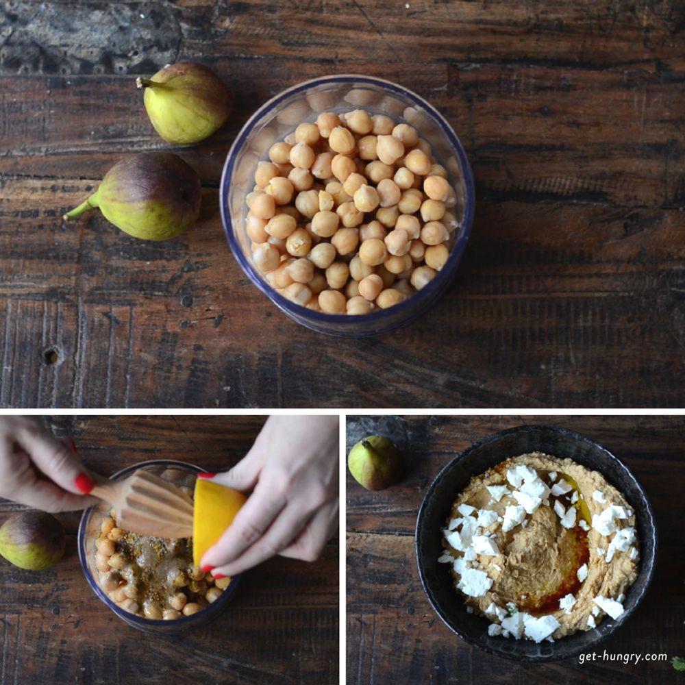 Hummus mit Schafskäse, Feigen und Granatpfel - Zubereitung