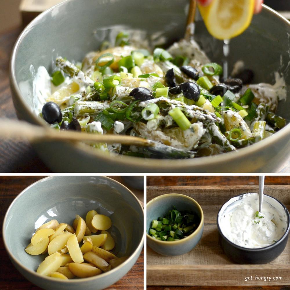 Grüner Spargel mit jungen Kartoffeln und Zitronen-Kräuter-Schmand