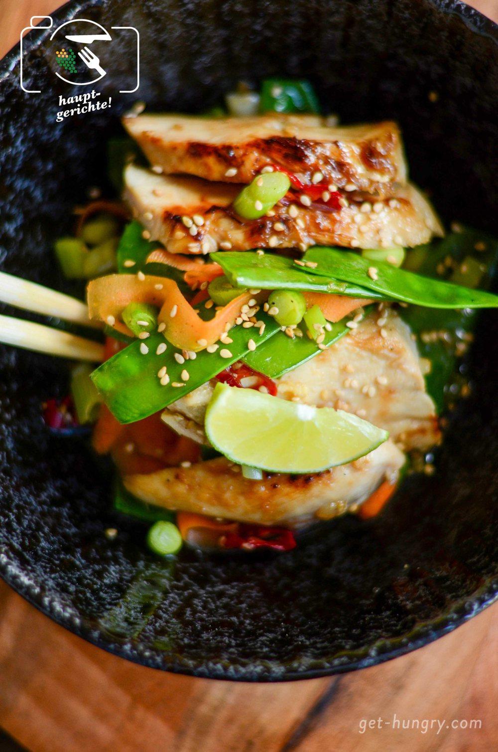 Asia-Huhn mit Honig-Limetten-Soja-Glasur