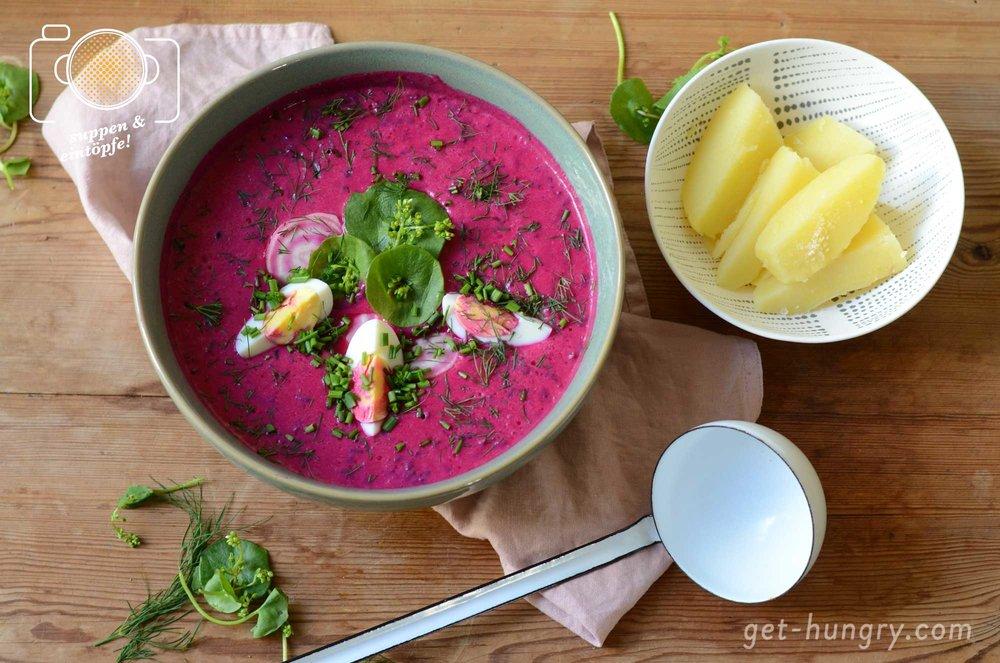 Sommerlicher Suppentraum in Pink - Kalte Rote Bete Suppe mit Salzkartoffel und Ei.