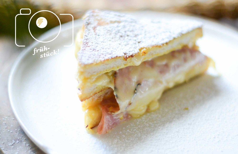 """""""Üppig"""" ist als Beschreibung für den """"Croque-Monsieur-French-Toast""""beinahe untertrieben - dafür schmeckt er aber auch so sensationell gut."""