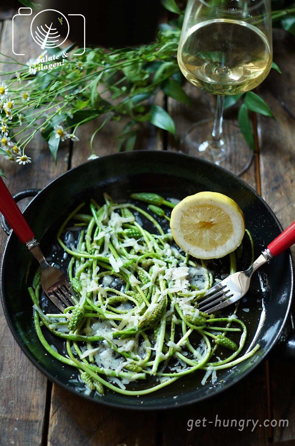 Wilder Spargel kurz gebraten - mit Parmesan und Zitrone verfeinert