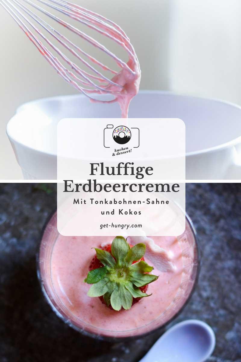 Erdbeercreme mit Tonkabohnen-Sahne und Kokos