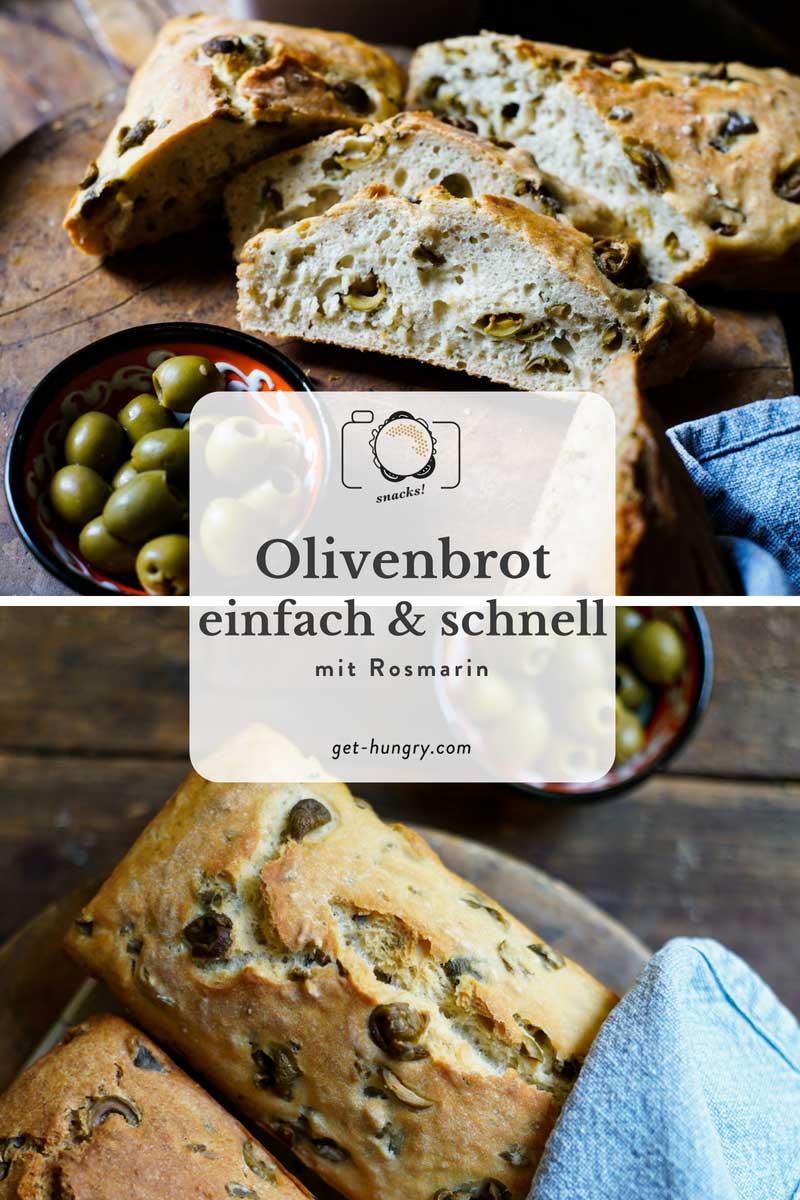 Einfach, schnelles Olivenbrot im zweierlei