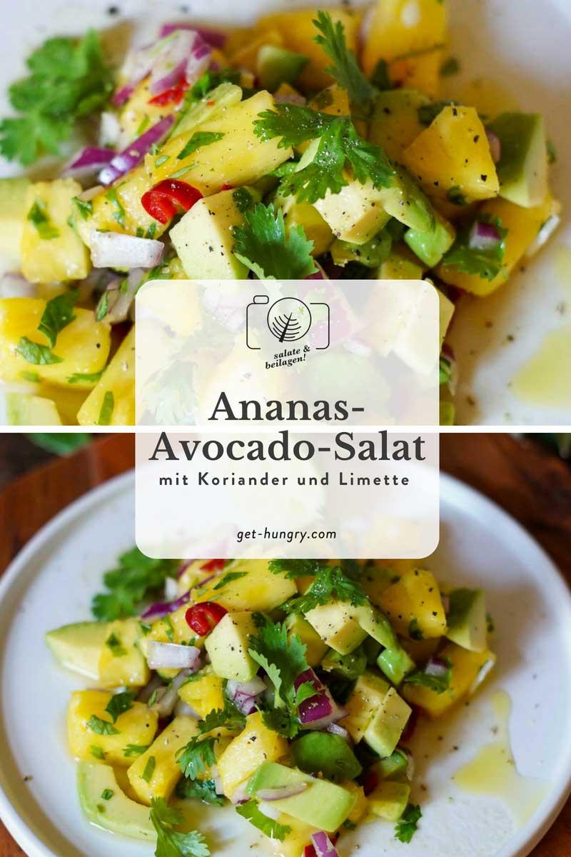 Ananas-Avocado-Salat mit Limette und Koriander