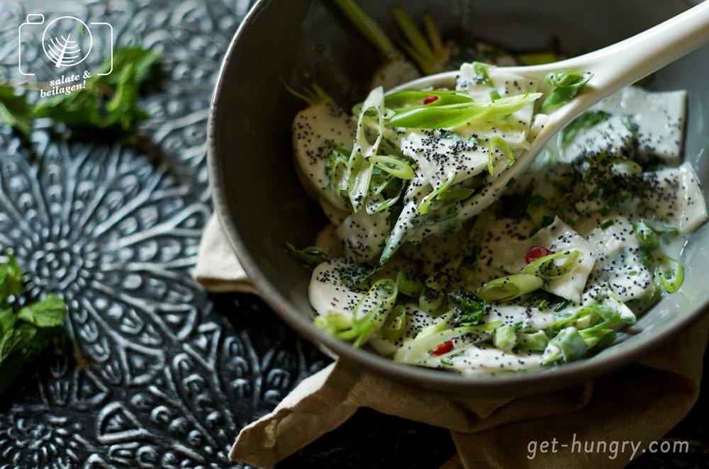 Rettich-Salat mit Joghurt-Mohn-Dressing