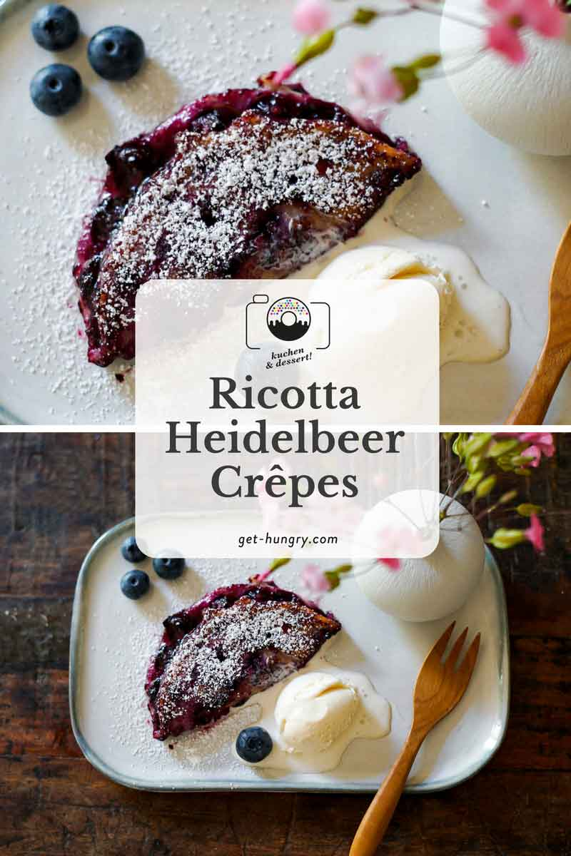 Ricotta-Heidelbeer-Crêpes mit geschmolzenem Vanilleeis