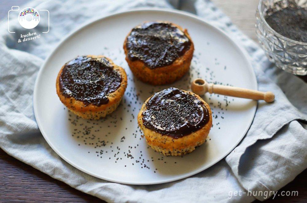 Saftige Apfel-Mohn-Ricotta-Muffins mit Schokoglasur