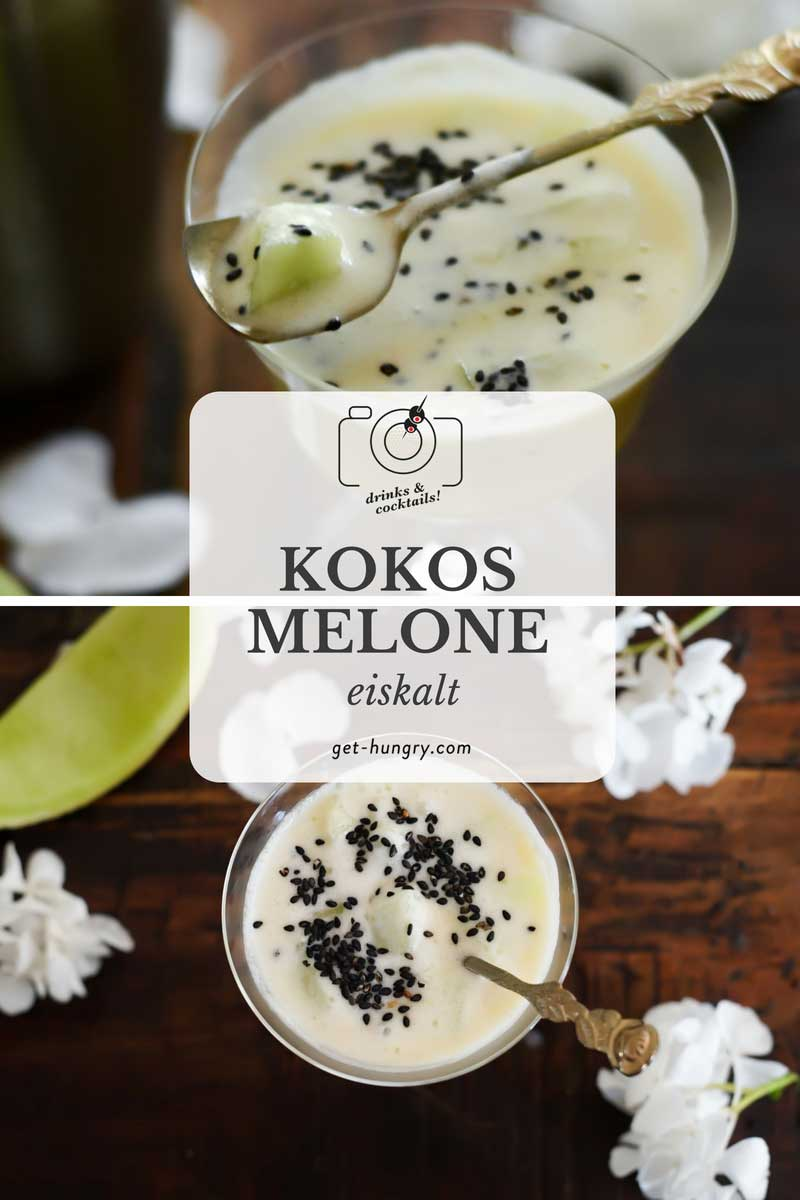 Honigmelone im eiskalten Kokos-Maracuja-Shake