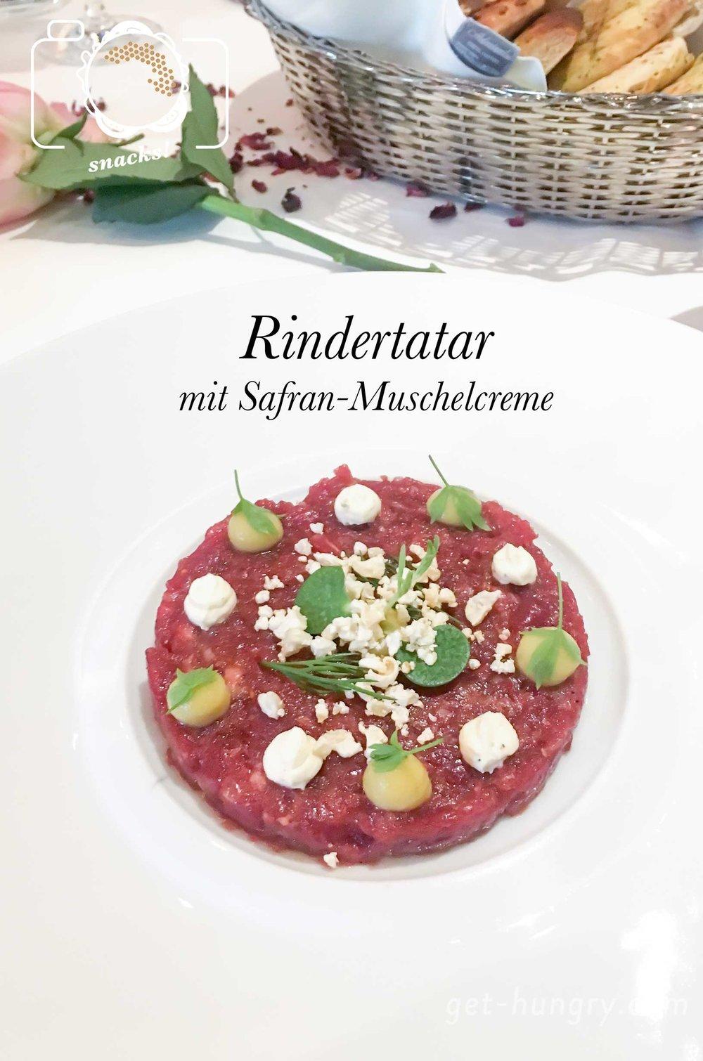 Rindertatar mit Safran-Muschelcreme