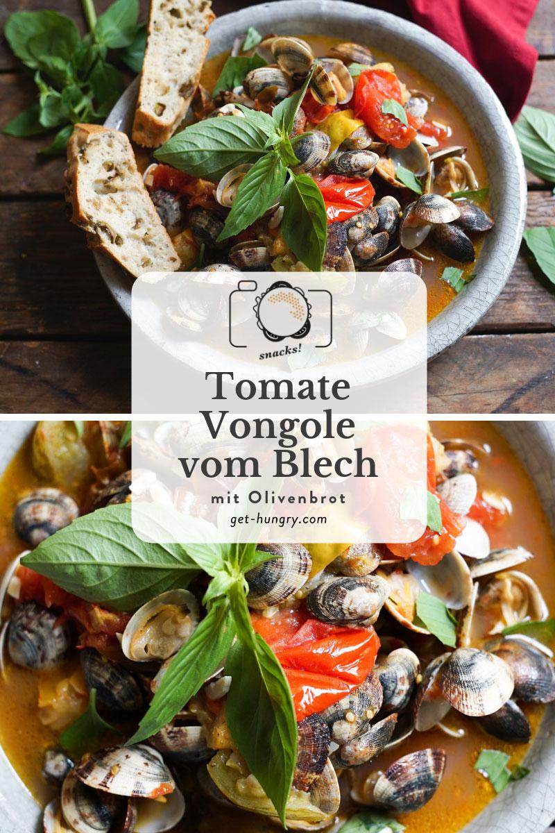 Tomate-Vongole vom Backblech mit Olivenbrot
