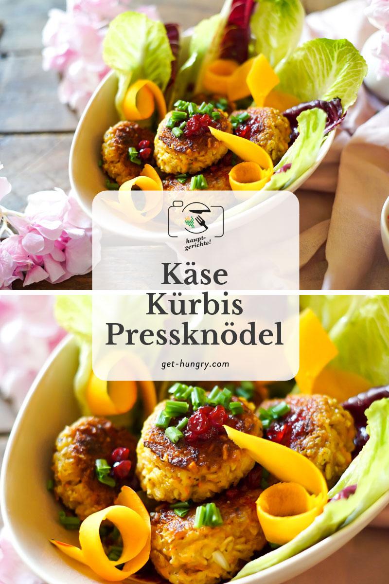 Käse-Kürbis-Pressknödel mit grünem Salat, Preiselbeeren und Kürbiskernöl-Dressing