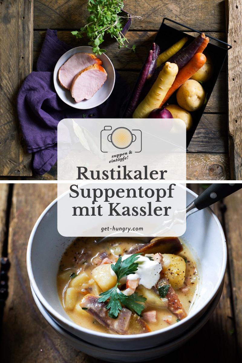 Rustikaler Kartoffel-Suppentopf mit Kassler, Urkarotte und Majoran