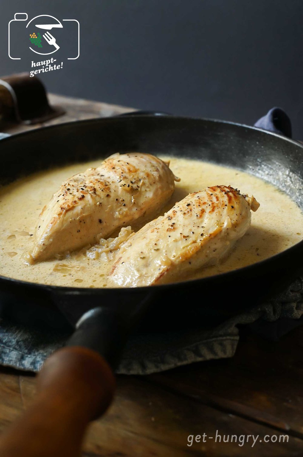 Blitzschnelle Weinbrand-Senf-Sauce für zartes Hühnerfilet