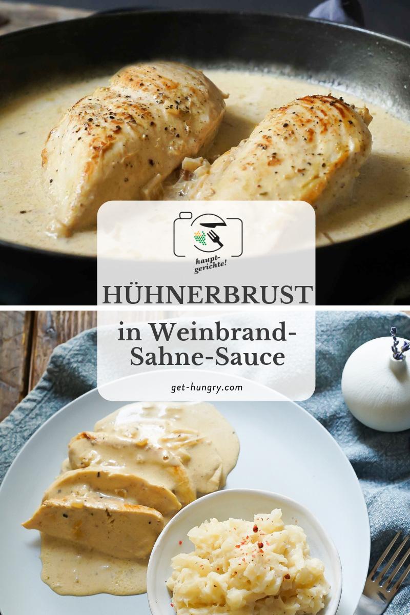 Zarte Hühnerbrust in Weinbrand-Sahne-Sauce
