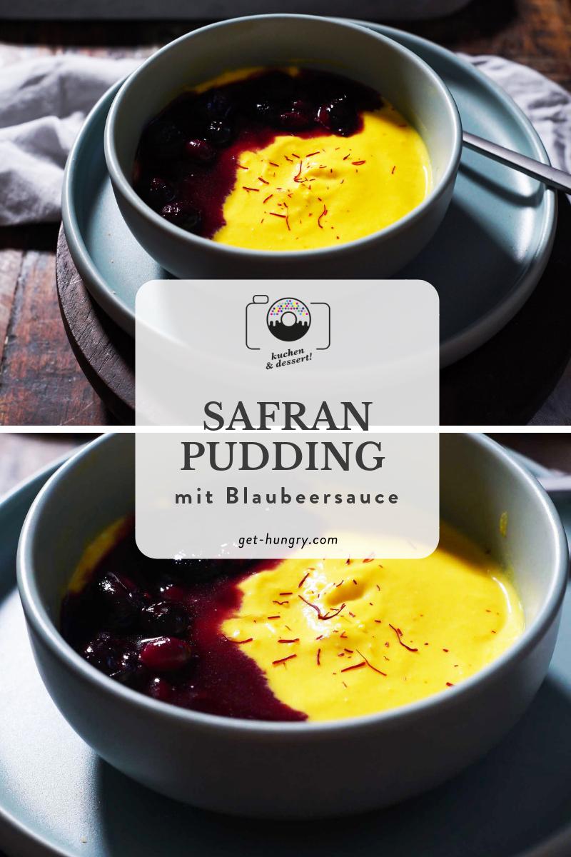 Safran-Pudding mit Blaubeersauce