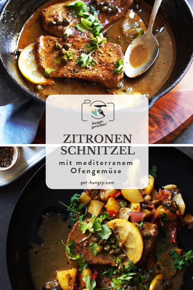 Zitronenschnitzel mit mediterranem Ofengemüse