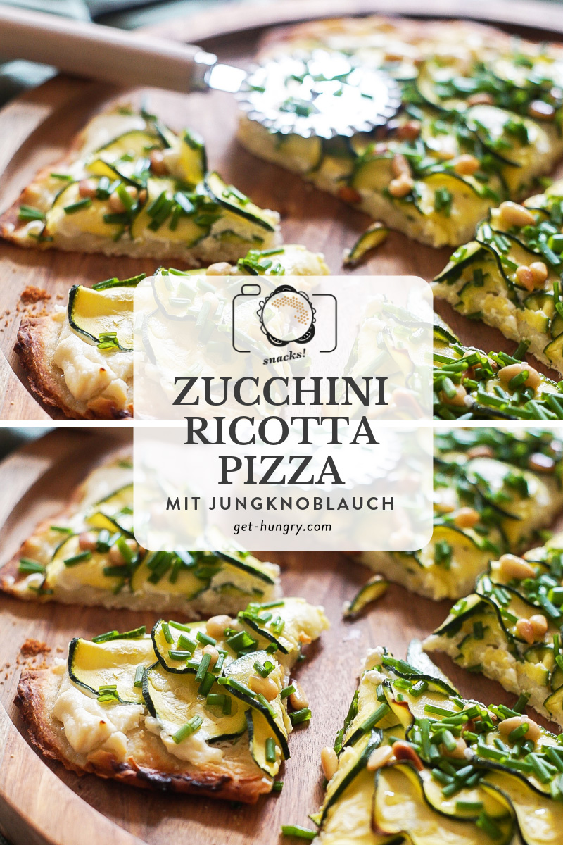 Zucchini-Ricotta-Pizza mit Jungknoblauch und Pinienkernen