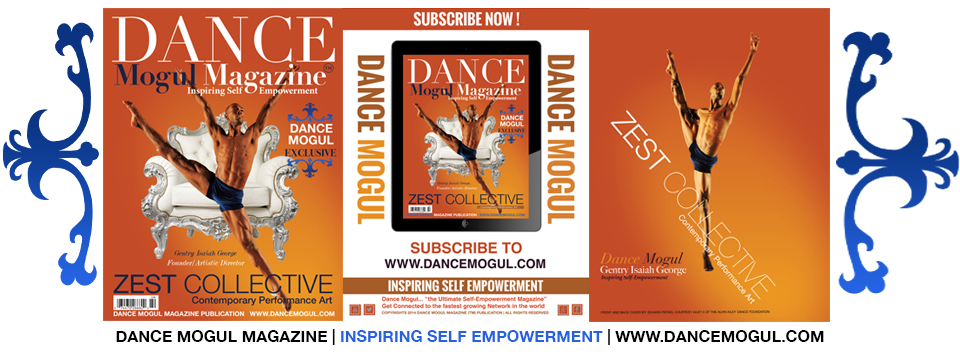 (December 2014)   Never before in the history of dance has a company ever had an entire magazine devoted exclusively to profiling the company's members, vision, mission, stage performances and ethos.  Check out ZEST COLLECTIVE Contemporary Performance Art in December 2014's issue of  Dance Mogul Magazine !