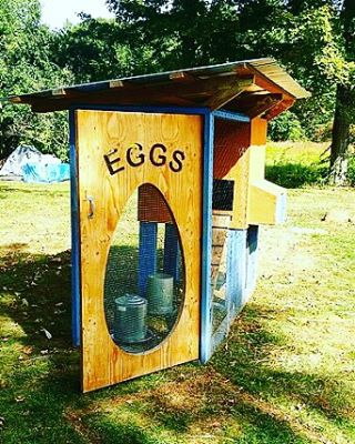 We built this a hen house couple years ago to test out some Homebuilt details. Recently added this nifty door.