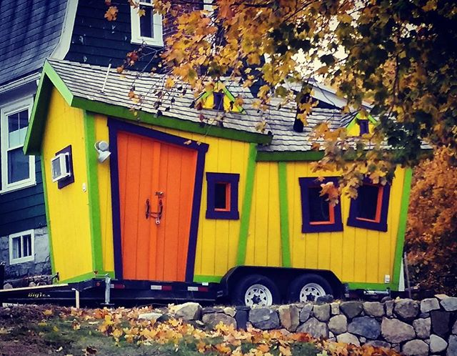 Even in New England, we get a little wild with our Tiny Homes.  Word on the street (from some very reliable 10 year olds who wish to remain anonymous) is that this beauty is jam packed with candy!  And yes, it actually is all tilted and those are the real colors... wonderful!  #tinyhomes #newenglandtiny