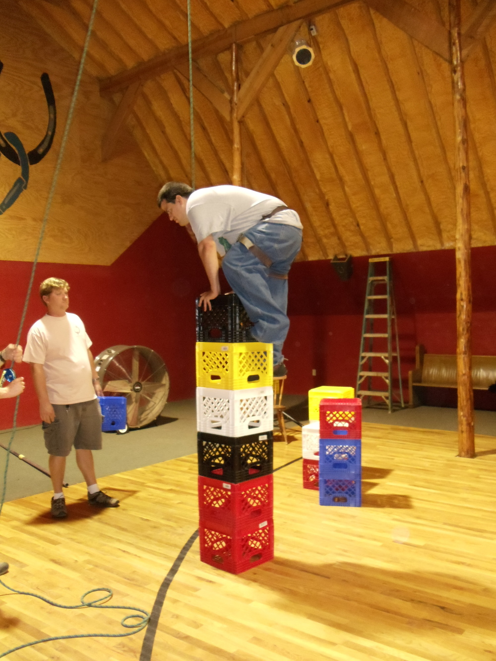 How high can Jack stack the milk crates in the HCR barn?