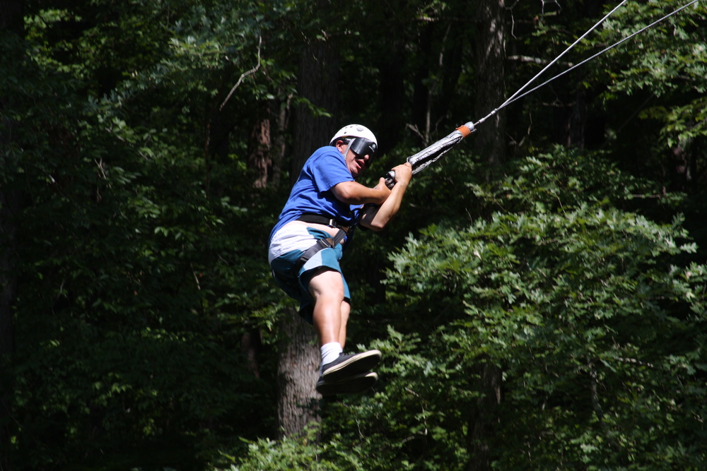 "The giant swing at Horn's Creek in Tennessee.  ""Just a little hop to the left."""