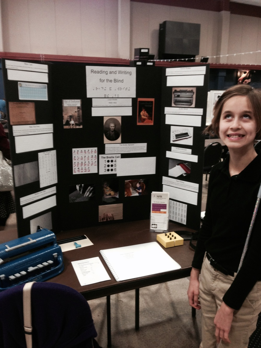 Lindsay presents Reading and Writing for the Blind at the 2014 Lincoln Parish Regional Social Studies Fair