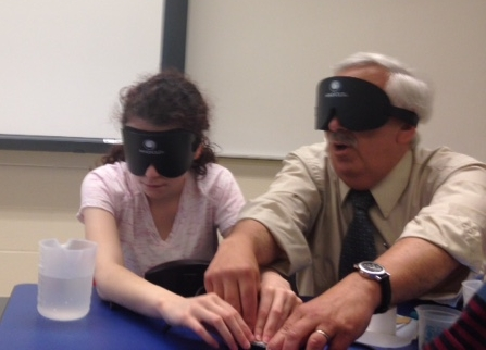 Dr. Alfred D'Agostino teaches a STEP student how to make chemistry accessible nonvisually