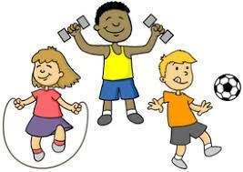 Cartoon figures jumping rope, lifting weights, and playing soccer