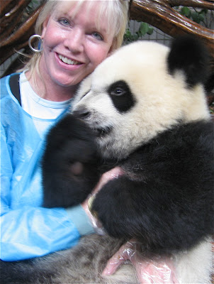 With a real, 18 month old baby panda girl - Chengdu, China