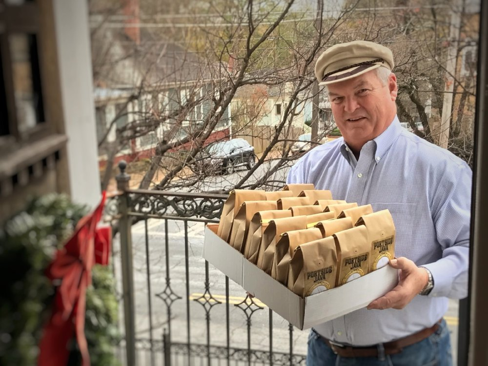 Captain Howard delivers the first Portside Java subscription order, December 18, 2016