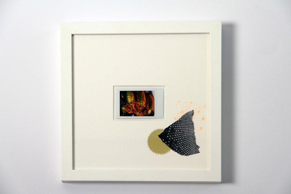 """Polaroid #1. 2016.   11"""" x 11"""" Framed w/ embellished matte."""