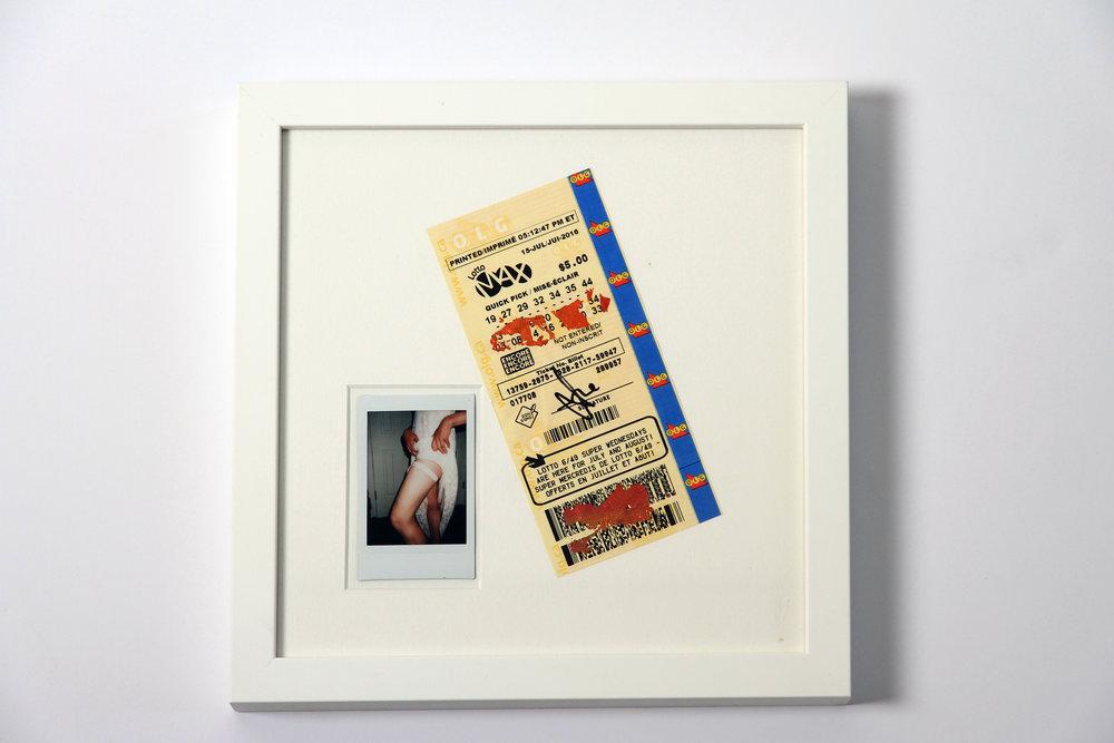 """Polaroid #2. 2016.   11"""" x 11"""" Framed w/ embellished matte."""