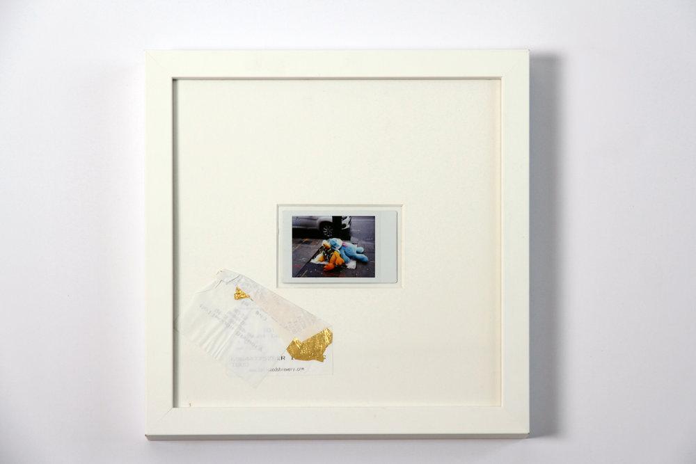 """Polaroid #4. 2016.   11"""" x 11"""" Framed w/ embellished matte."""