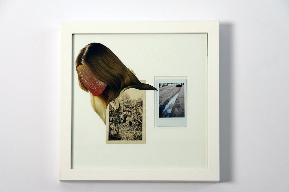"""Polaroid #5. 2016.   11"""" x 11"""" Framed w/ embellished matte."""