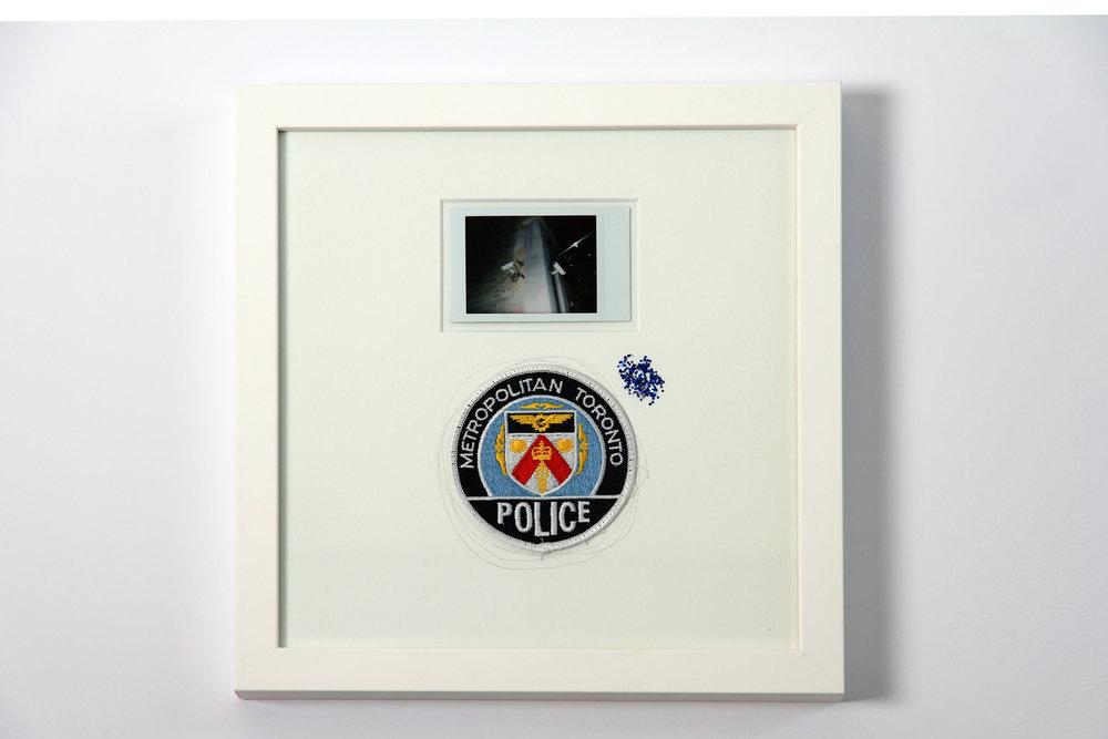 """Polaroid #8. 2016.   11"""" x 11"""" Framed w/ embellished matte."""