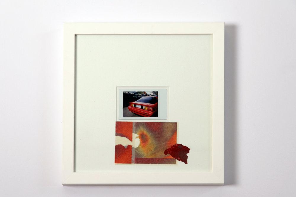 """Polaroid #12. 2016.   11"""" x 11"""" Framed w/ embellished matte."""