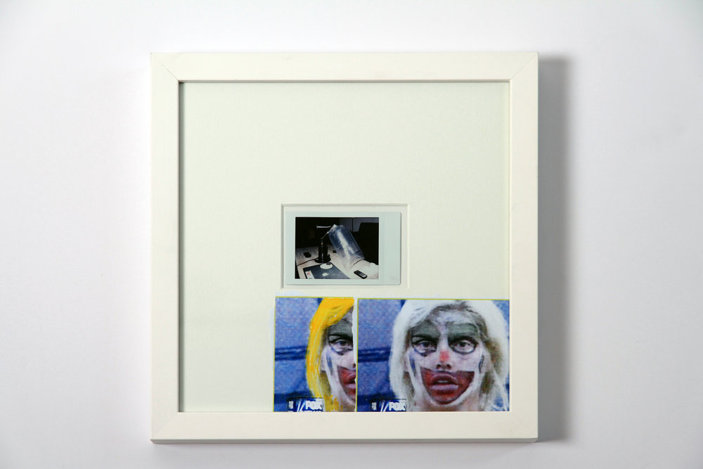 """Polaroid #13. 2016.   11"""" x 11"""" Framed w/ embellished matte."""