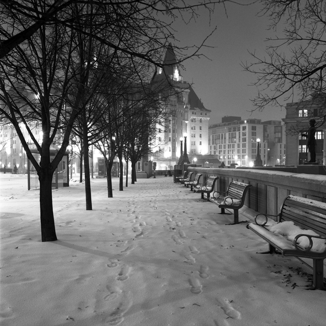 Winter night walk Chateau Laurier