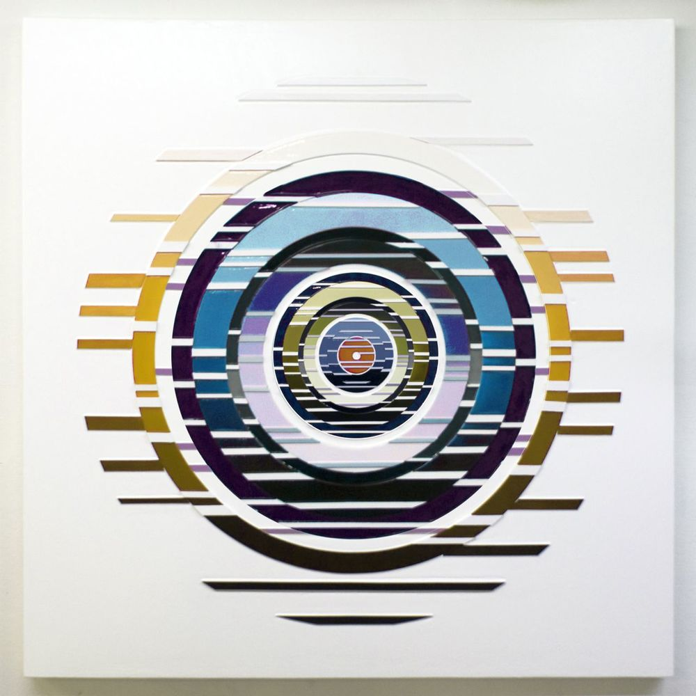 'Muskelunge' Poured acrylic paint and wood on panel, 60 x 60 in, 2012