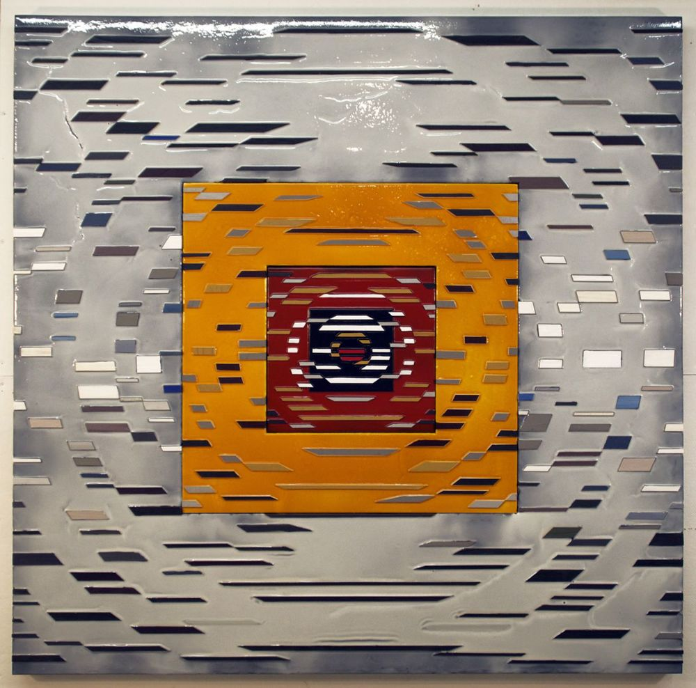 'Transition' Poured acrylic paint and wood on panel, 60 x 60 in, 2012
