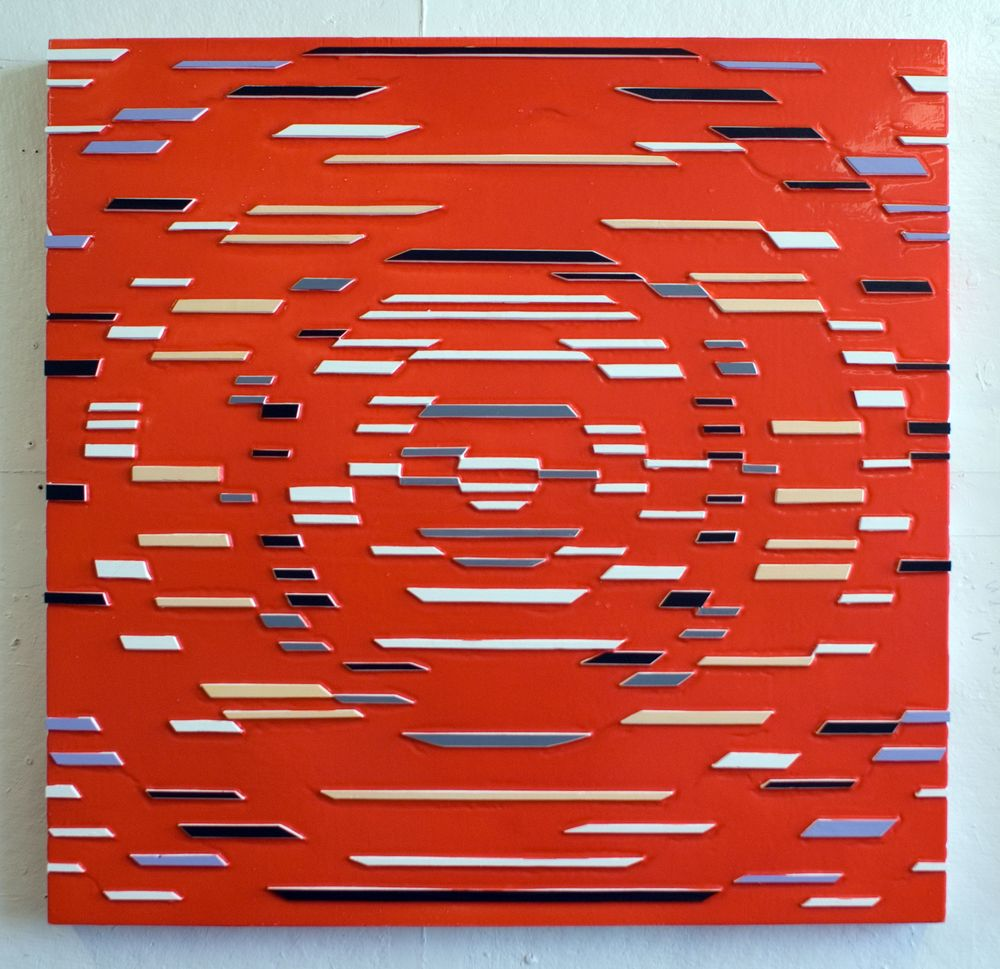 'Red Math' Poured acrylic paint and wood on panel, 36 x 36 in, 2011