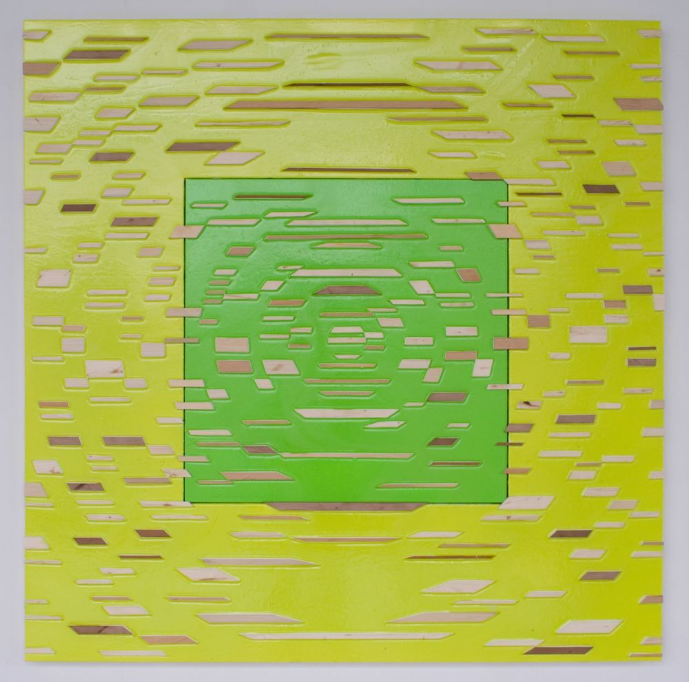 'Sequel but not Equal' Poured acrylic paint and wood on panel, 60 x 60 in, 2011