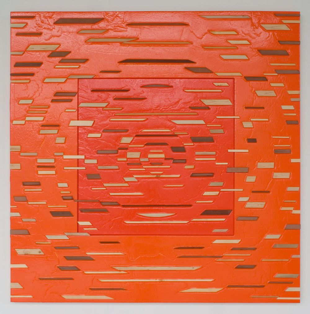 'Urban Fervor' Poured acrylic paint and wood on panel, 60 x 60 in, 2011
