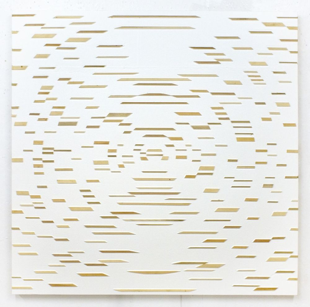 'Delusions Parfait' Poured acrylic paint and wood on panel, 60 x 60 in, 2011