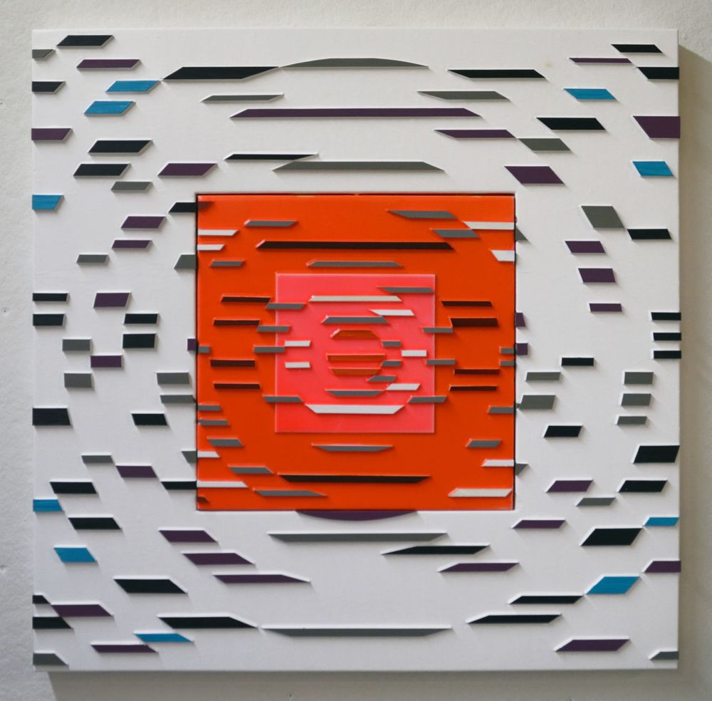 'Prequel' Poured acrylic paint and wood on panel, 36 x 36 in, 2011