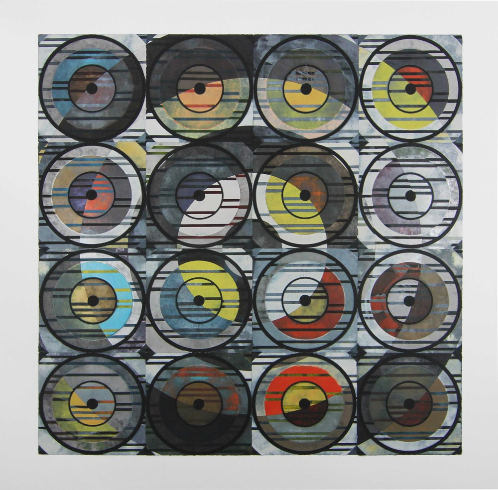 'untitled'  woodcut mono prints collaged and mounted to panel, 68 x 68 inches, 2014
